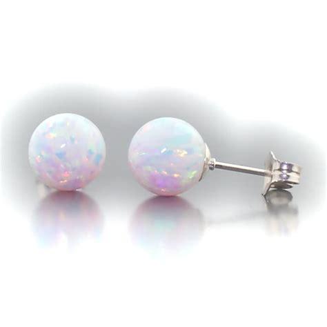 8mm australian fiery white opal stud post earrings 301 moved permanently