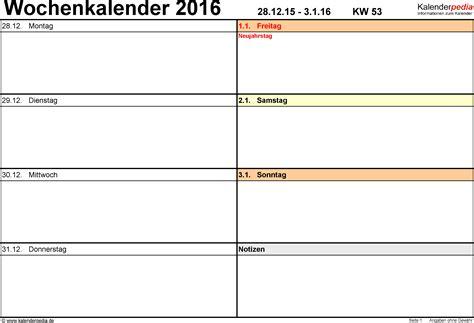 Wochen Kalender 2016 Wochenkalender 2016 Als Word Vorlagen Zum Ausdrucken