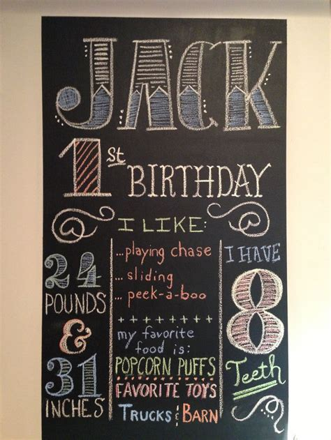 diy chalkboard birthday 1st birthday chalkboard display with stats and