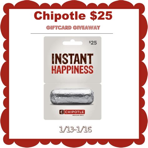 Chipotle Giveaway - win this 25 chipotle gift card ends 1 16 14 it s free at last