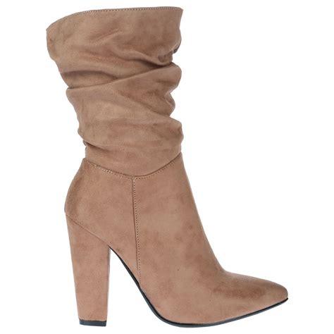 slouch high heel boots georgina womens high block heel ruched slouch mid calf