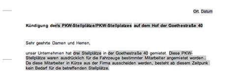 Musterbriefe Parkplatz K 252 Ndigung Eines Mietvertrags F 252 R Parkpl 228 Tze Muster Vorlage Zum