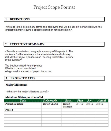 project scope sle template project 7 free for word pdf