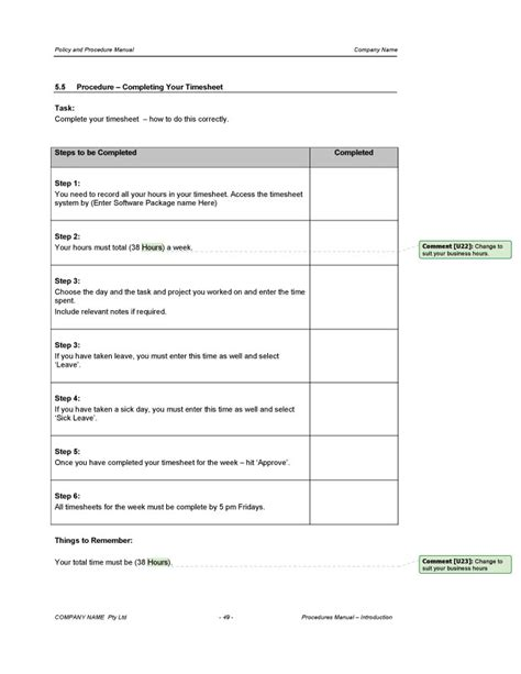 procedure templates procedure manual template