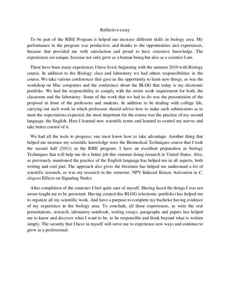 writing a reflective paper reflective essay exle 15 my exles