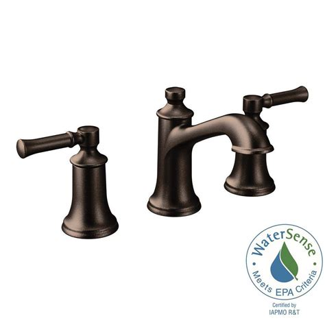 moen bathroom faucets in rubbed bronze moen dartmoor 8 in widespread 2 handle bathroom faucet in