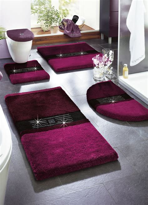 badvorleger lila quot grund quot badgarnitur in verschiedenen farben