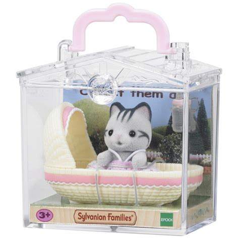 Sylfanian Families Collect Them All Series 5198 baby carry cat in cradle sylvanian families
