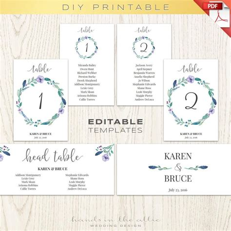 wedding seating chart template printable floral wedding table numbers printable template seating