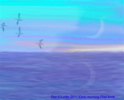 early morning first birds digital art by dr loifer vladimir