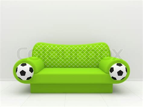 soccer sofa green sofa with soccer balls and a grid stock photo