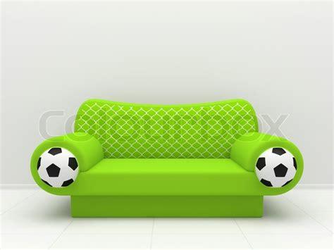 soccer ball sofa green sofa with soccer balls and a grid stock photo colourbox