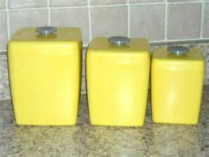 retro yellow canisters kitchen plastic flour sugar tea