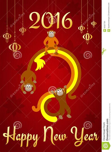 new year golden monkey new year postcard stock vector image of banner