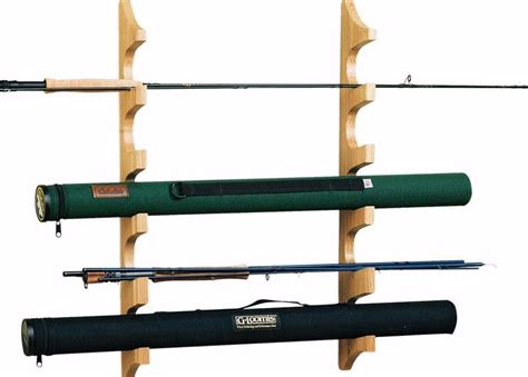 wall fly rod rack mount vertically garage cabin fishing