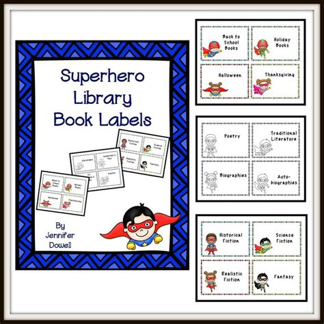printable genre labels book bin labels superhero