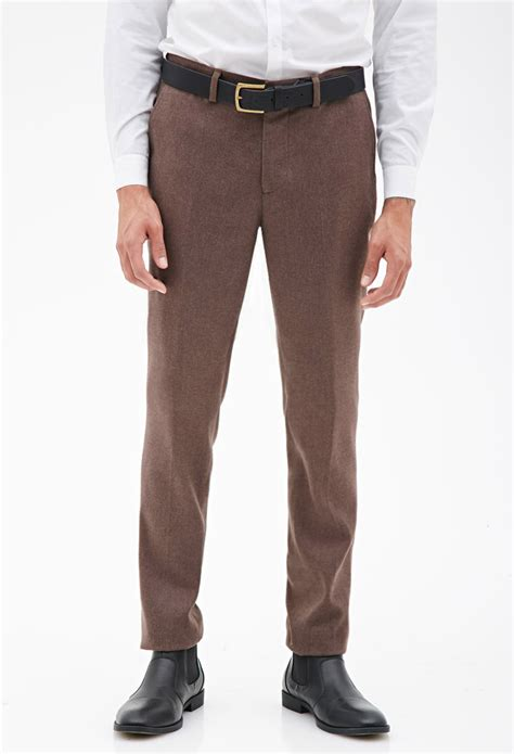 dress pants shop for mens dress pants and apparel forever 21 twill dress pants in brown for men lyst