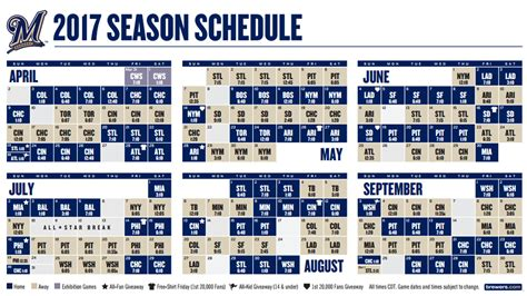 Brewers Giveaways 2017 - milwaukee brewers 2017 schedule