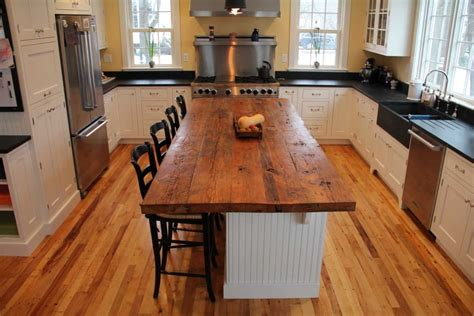 white with wood top rectangle brown reclaimed wooden butcher block top over
