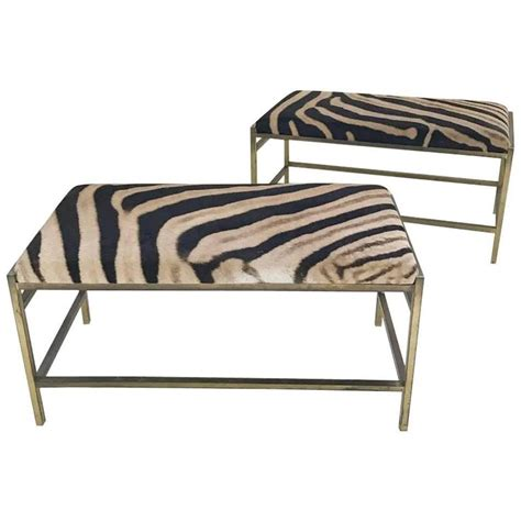 zebra hide bench mccobb style brass and zebra hide benches or ottomans for