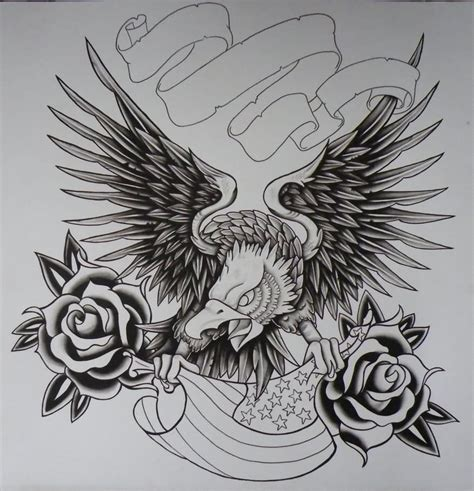 usa tattoo designs black ink flying eagle with usa flag and roses design