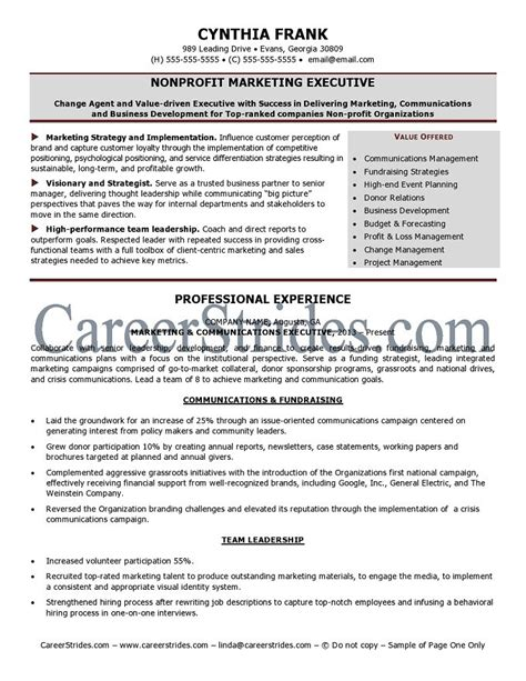 Sample Non Profit Resume by Nonprofit Resume Sample
