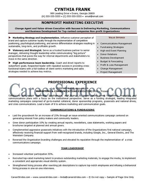 Resume Objective Non Profit Nonprofit Resume Sle