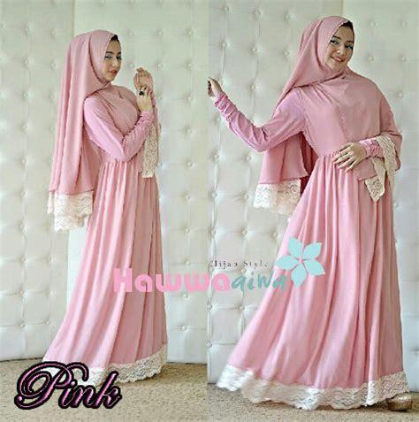 Syari Sakinah Blue mehla syar i pink baju muslim gamis modern