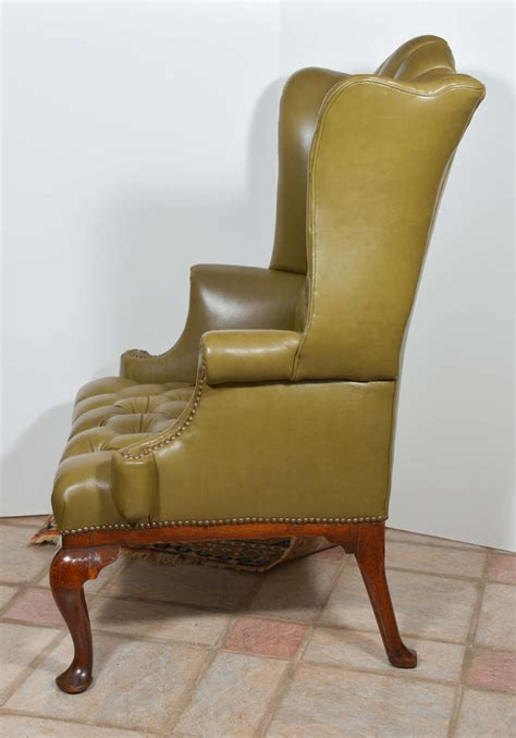 18th century antique reclining wing arm chair at 1stdibs 18th century english tufted leather queen anne wing chair