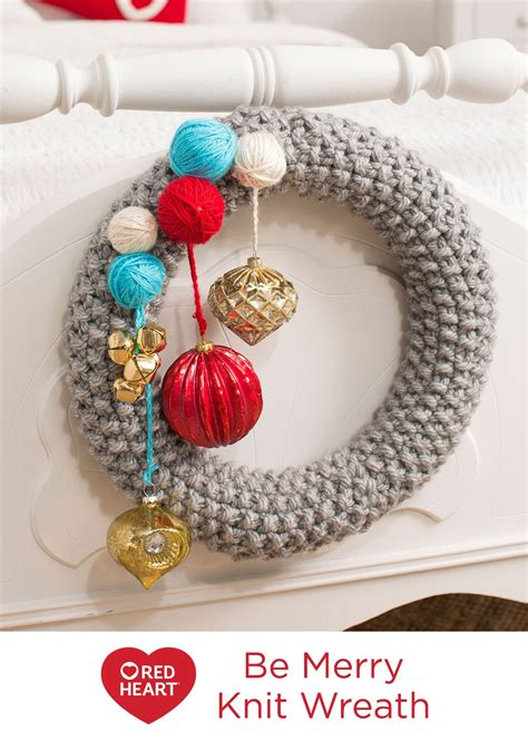 merry knit wreath  knitting pattern  red heart yarns knitting  wreath