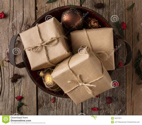 rustic wrapped christmas gifts stock photo image 42377911
