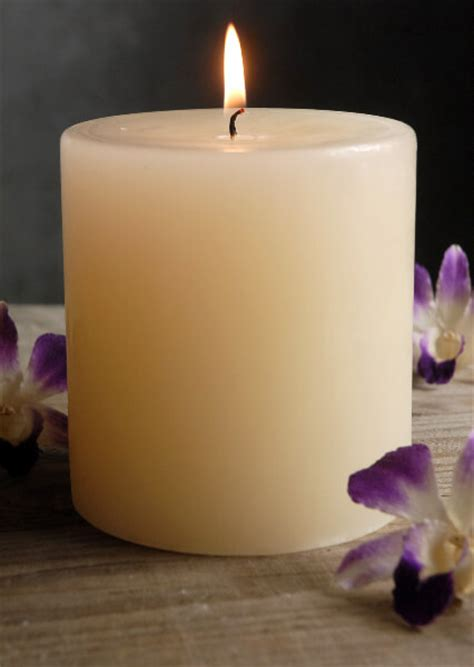 le 4 candele pillar candles 4x4 unscented ivory