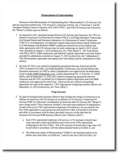 Union Letter Of Agreement Memorandum Of Understanding Mou Between Twu And Us Airways Dated Jan 25 2013 Transport