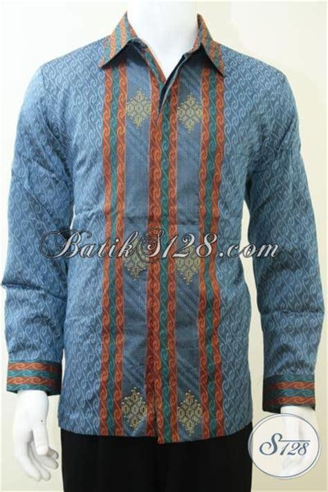 Kemeja Laki Laki Lengan Panjang Warna Biru Kemeja Distrokemeja Pria 2 kemeja batik tenun pria warna biru kalem baju lengan