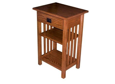 Large Mission Phone Stand End Table With Drawer Telephone Desk Stand
