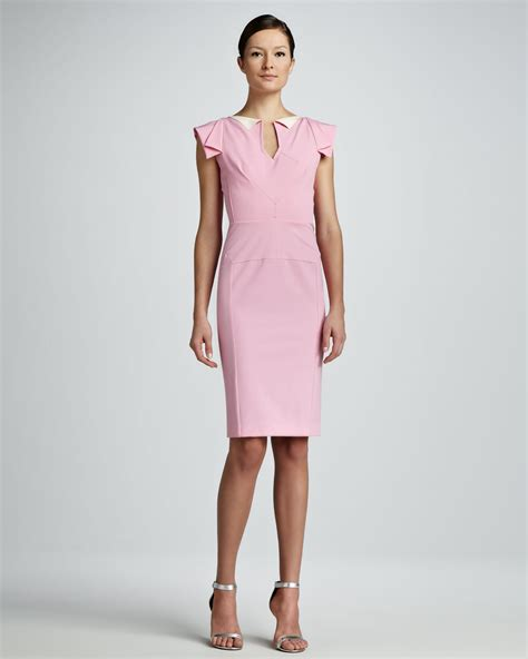 Cap Sleeve Sheath Dress lyst roland mouret cap sleeve sheath dress light pink in