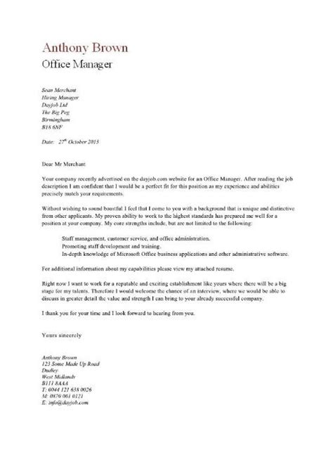 Office Letter Template Office Manager Cover Letter Exle
