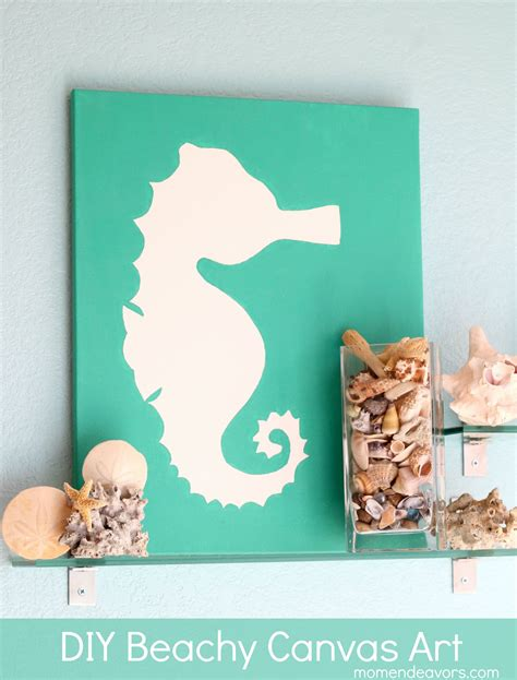 diy projects canvas diy beachy seahorse canvas