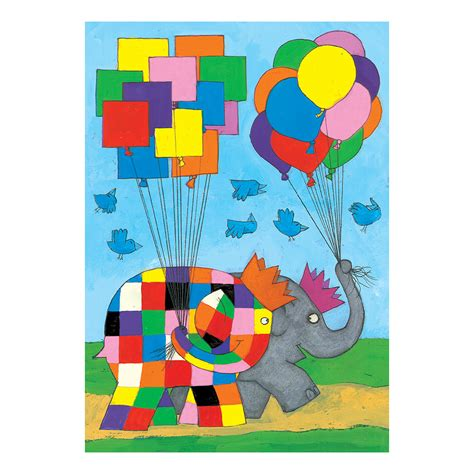Patchwork Elephant Book - elmer balloons greeting card gift blank patchwork elephant