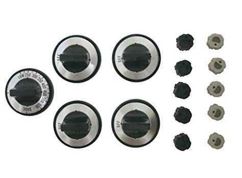 Gas Range Knobs Replacement by 5 Pcs Gas Range Knob Set Replacement Black With Silver Overlay