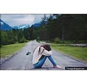 Sad Girl Alone Road Cute