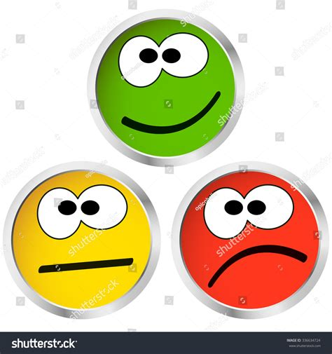 Three Buttons three buttons happy neutral sad emotion stock vector