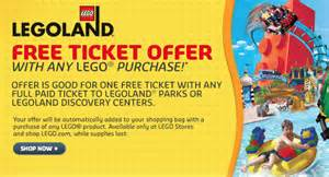 Buy one get one free legoland tickets with lego shop purchase