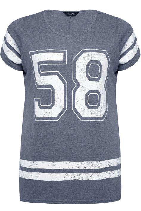 Printer Jersey grey marl varsity no 58 print jersey cotton mix t shirt plus size 16 18 20 22 24 26 28 30 32 34 36