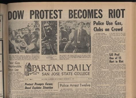 Sjsu Library Reserve Room by Spartan Daily Dow Chemical Riot Article Dr Martin