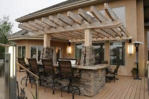 Edmonton Kitchen Cabinets upper level pergola and built in bbq with island modern