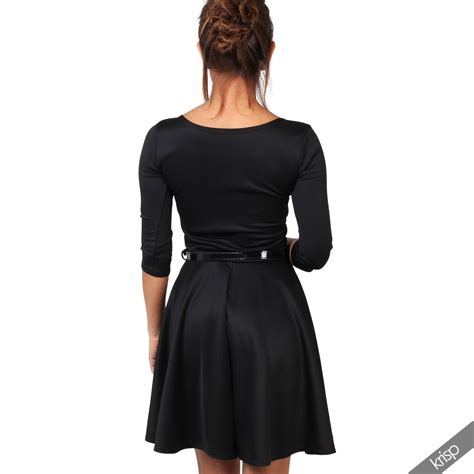 swing top dress women belted 3 4 sleeve top pleated tailored swing skater