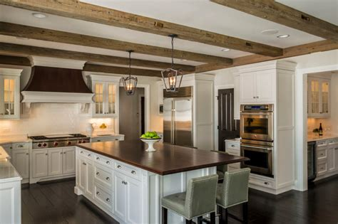 Kitchen Pantry Cabinets Freestanding by Transitional Kitchen With Barn Beams Transitional
