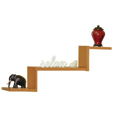 three tiered floating shelf in wall mounted shelves