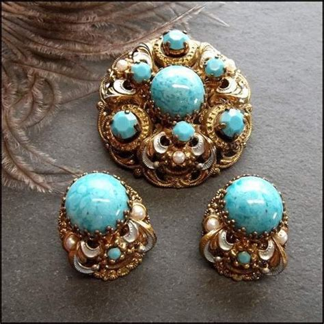 vintage for jewelry antique brooch w earrings west german turquoise